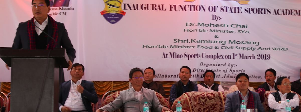 Arunachal Pradesh sports and youth minister Mohesh Chai dedicating the State Sports Academy at Miao to the people of Tirap, Changlang and Longding districts