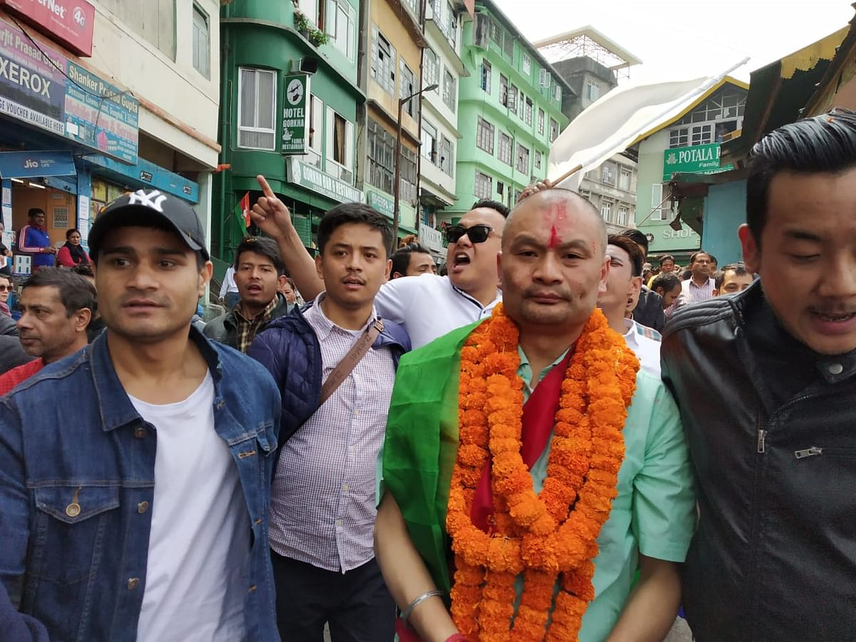 Supporters of Gangtok Municipal Corporation chairman Ashish Rai took out a massive protest rally on Saturday after he was denied a party ticket to contest the ensuing assembly elections in state
