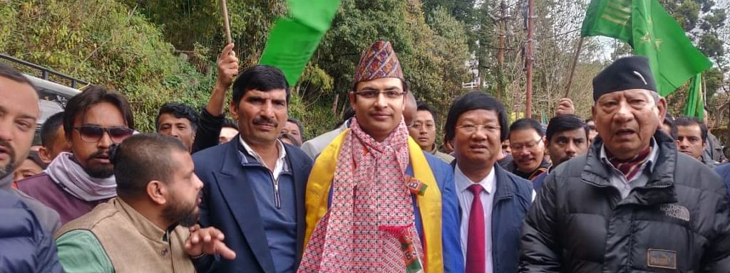 Darjeeling MP Raju Bista during one of his poll campaigns