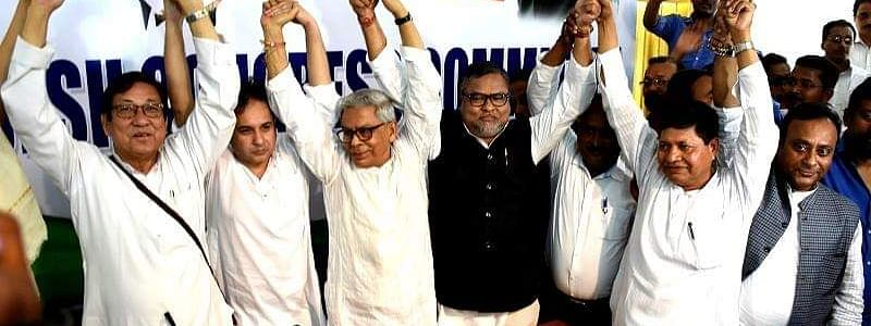 From left Birajit Sinha former PCC president, Congress President Pradyot Kishore Deb Barman, Former Chief Minister Samir Ranjan Barman, Subal Bhowmik former BJP vice -president in the joining session here in Tuesday afternoon.