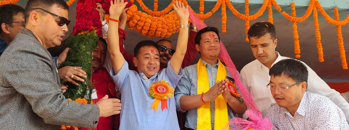 SKM president PS Golay during an election rally in Namchi, Sikkim