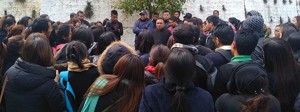 Students of Mizoram Hindi Training College protesting against the principal