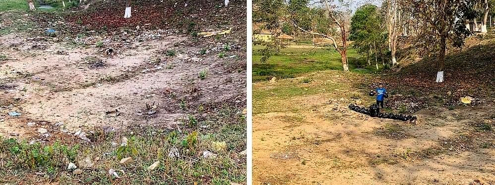 17-year-old Raikom Enghi shared this 'before-after' image of Taralangso in Assam's Karbi Anglong district as he took up the #Trashtag Challenge