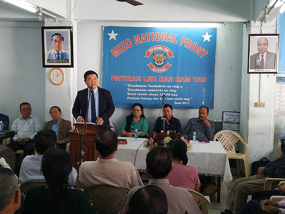 Mizoram information and public relations minister and Mizo National Front (MNF) general secretary Lalruatkima addressing a party meeting in Aizawl on Friday