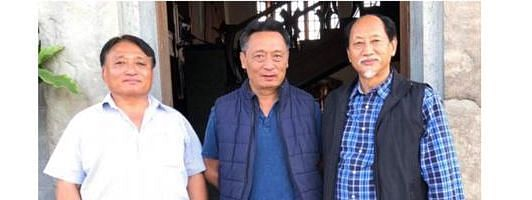 From left: Nagaland minister Metsubo Jamir, NPF Toshipokba Longkumer and chief minister Neiphiu Rio after the withdrawal of candidature by Longkumer