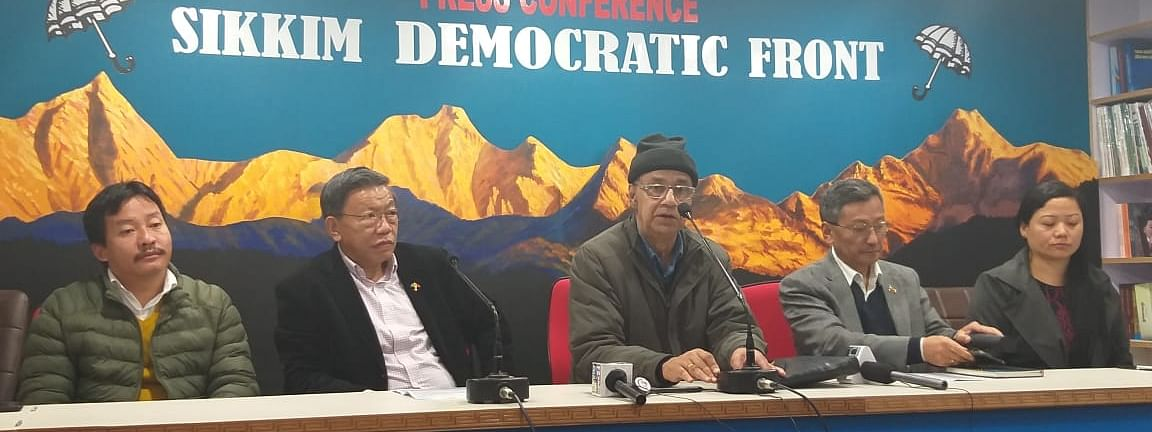 SDF leaders during a press conference at the party office on Friday.