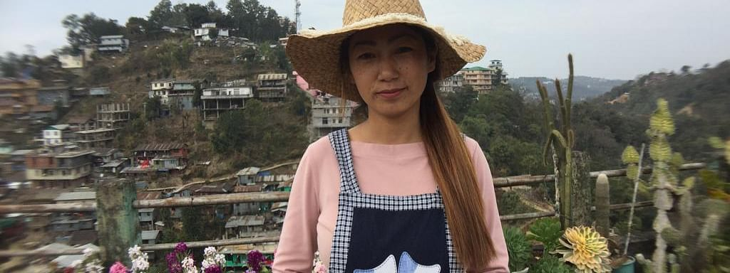 Pezangunuo Kerho, also known as Azai, who grows flowers, succulents and cacti on her terrace nursery in Bayavu, Kohima in Nagaland