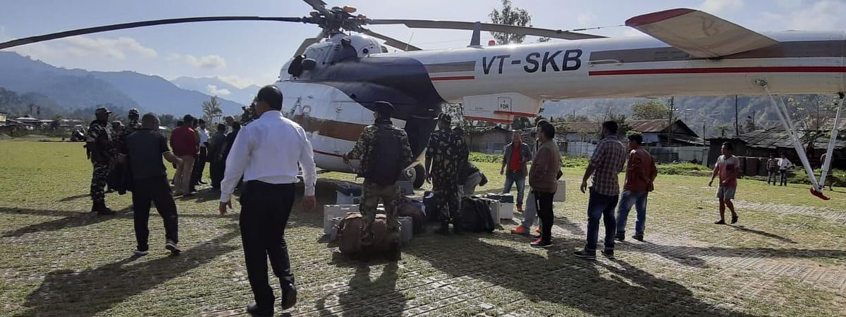Polling officials being airlifted to remote locations of Arunachal Pradesh