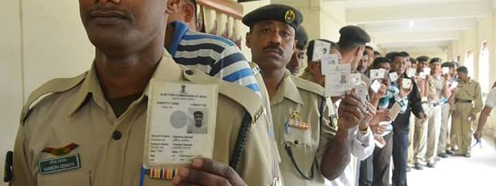 EDC holding police and Tripura State Riffles personnel will be allowed to cast their votes in uniforms but they will have to deposit their weapons at the counters outside polling station