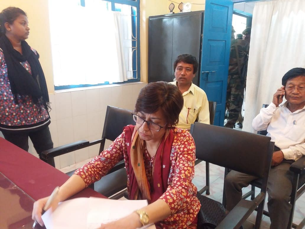 Congress candidate Pragya Deb Burman filing a complaint at Khowai police station after she was attacked by miscreants recently