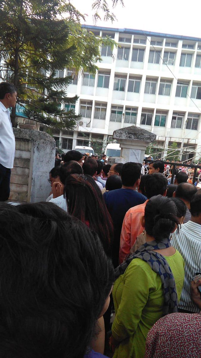 Voters queuing up at a polling booth in Guwahati, Assam on Tuesday morning