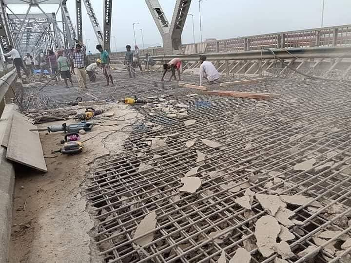 Renovation work is on in full swing at the old Saraighat bridge over river Brahmaputra in Guwahati, Assam