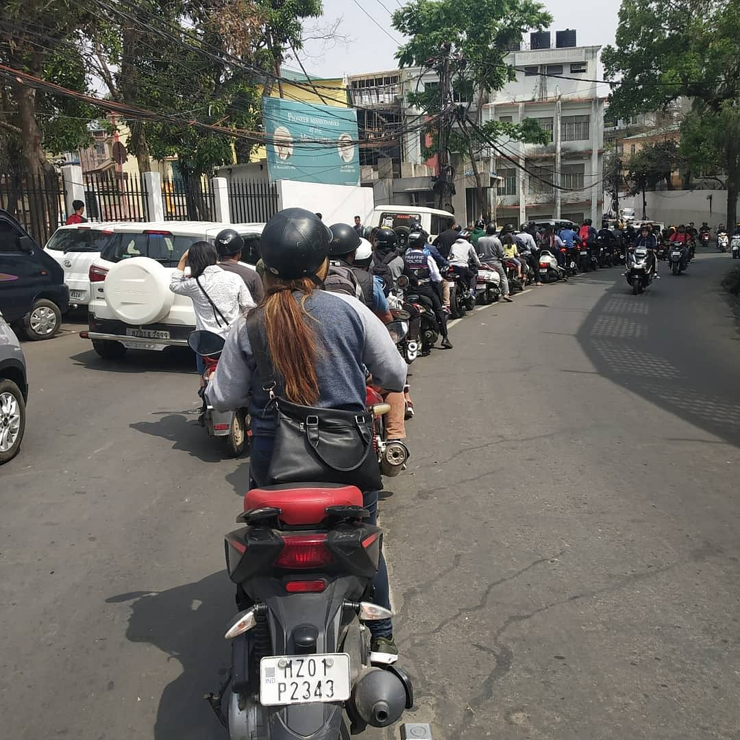 Mizoram residents are known for following extreme self-imposed discipline on roads. Even two-wheeler riders stick to a line next to the cars