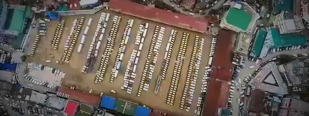 Screen grab of the aerial video of cars requisitioned for poll duties in Kohima, Nagaland