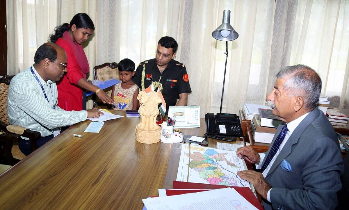 From his personal account, Arunachal Pradesh governor BD Mishra also gave a cheque of Rs 10,000 to open a fixed deposit account for the poor kid