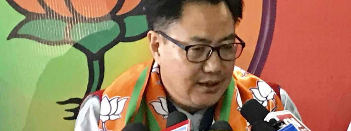 Union minister of state Kiren Rijiju at a press conference in Itanagar on Sunday