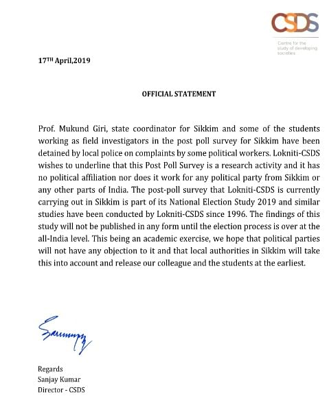 The official statement issued by the Centre for the Study of Developing Societies (CSDS) after the detention of its researchers in Sikkim