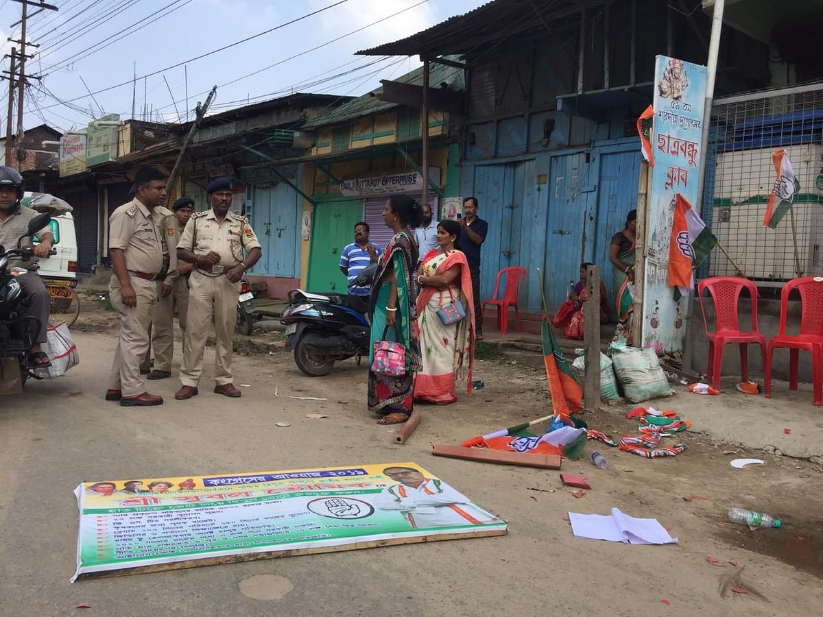 Instances of poll-related violence were reported from the Netaji Chowmuhani area of Agartala in Tripura on Thursday