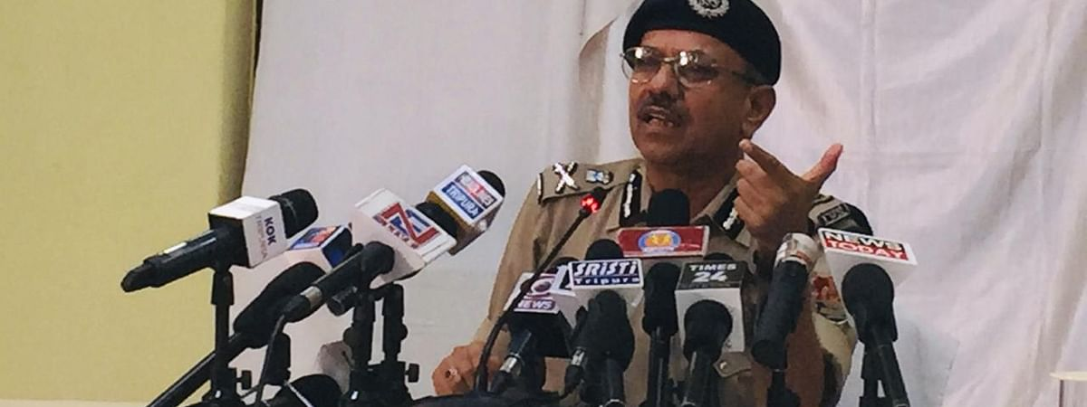 Director general of police Akhil Kumar Shukla addressing a press conference at the police headquarters in Agartala on Friday evening