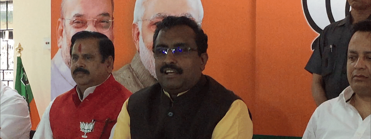 BJP national general secretary Ram Madhav at a press conference at the party's state headquarters in Guwahati, Assam