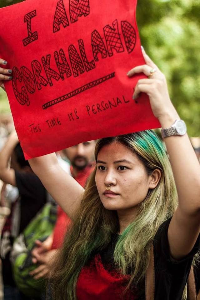 A protester taking part in the 2017 Gorkhaland agitation in Darjeeling