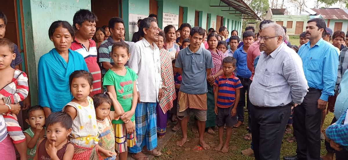 People taking shelter in one of the relief camps of set by the government in West Tripura district