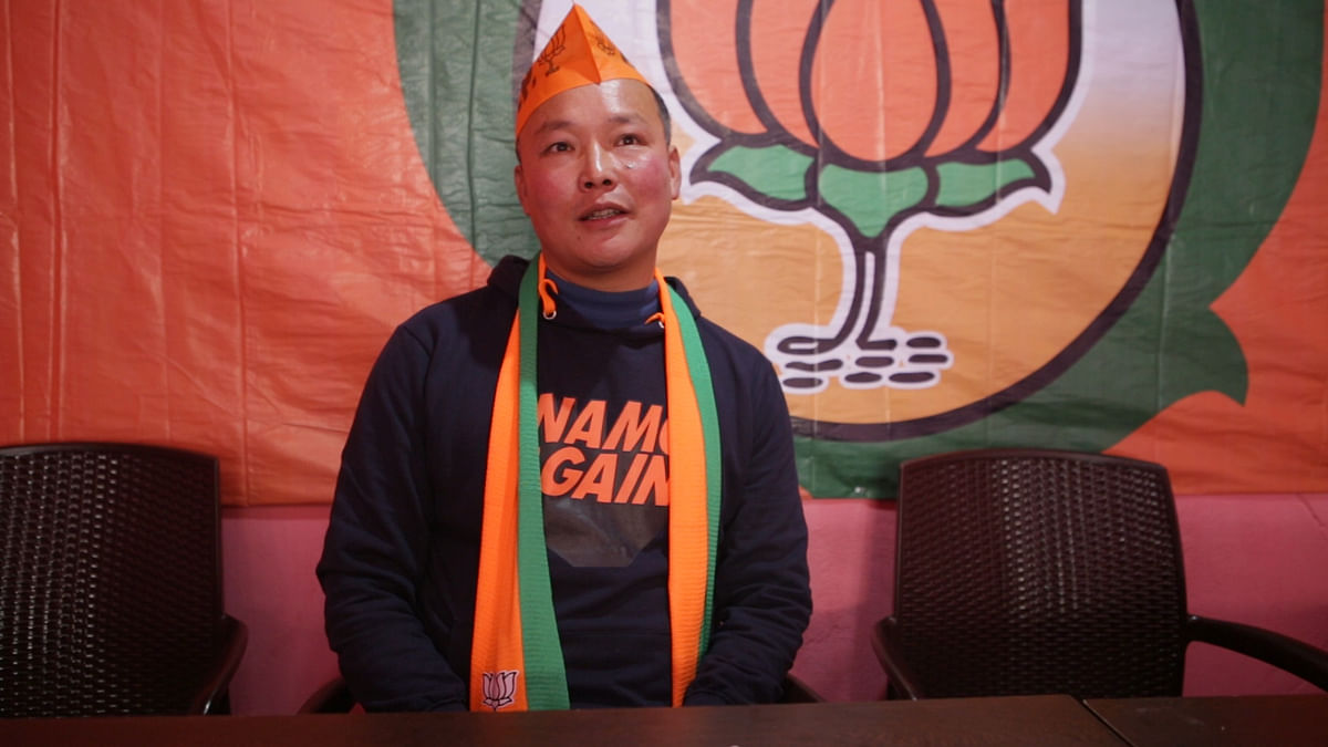 BJP's Tawang district president Sangey Chodup at the party office
