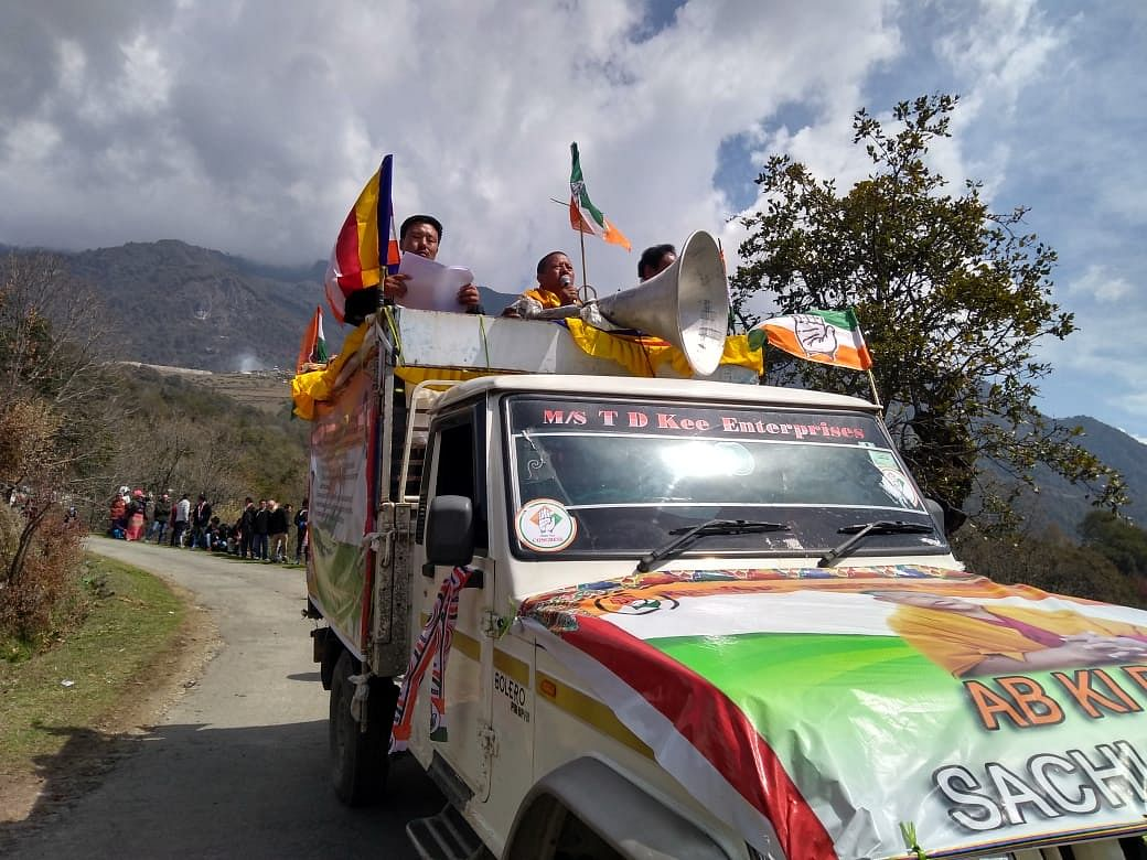 Congress candidate Geshe Thupten Kunphen during a campaign rally outside a BJP camp in Lhau village in Arunachal Pradesh's Tawang district