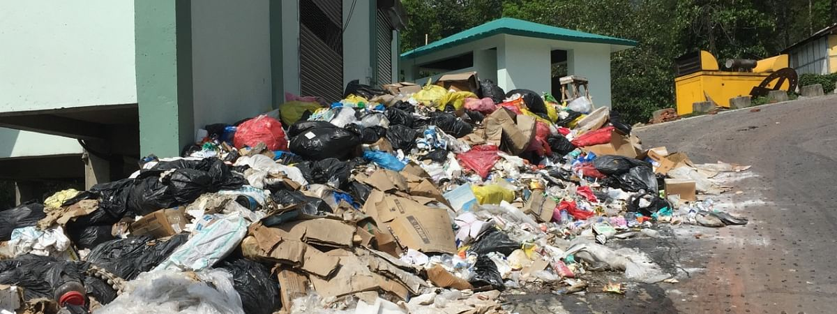 Heaps of garbage at lying at the hospital premises in Sochaygang, Sikkim
