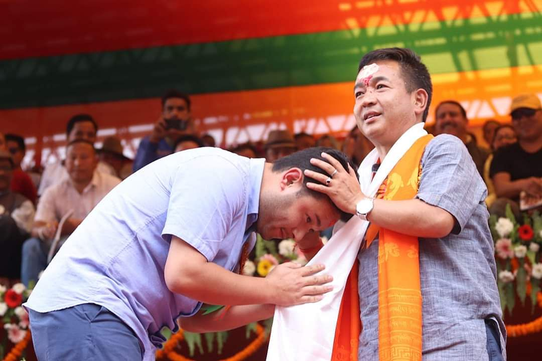 New Sikkim CM and Sikkim Krantikari Morcha leader PS Golay (right) with son Aditya Golay