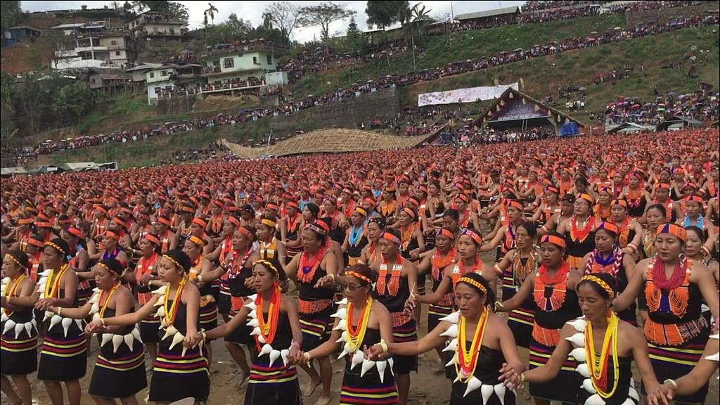 Nagaland governor PB Acharya felicitating the Konyak women on Wednesday
