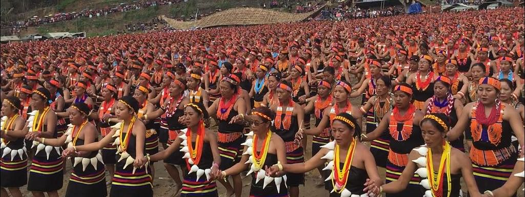 Konyak women ready to dance at the Aoleng Festival in Mon district of Nagaland