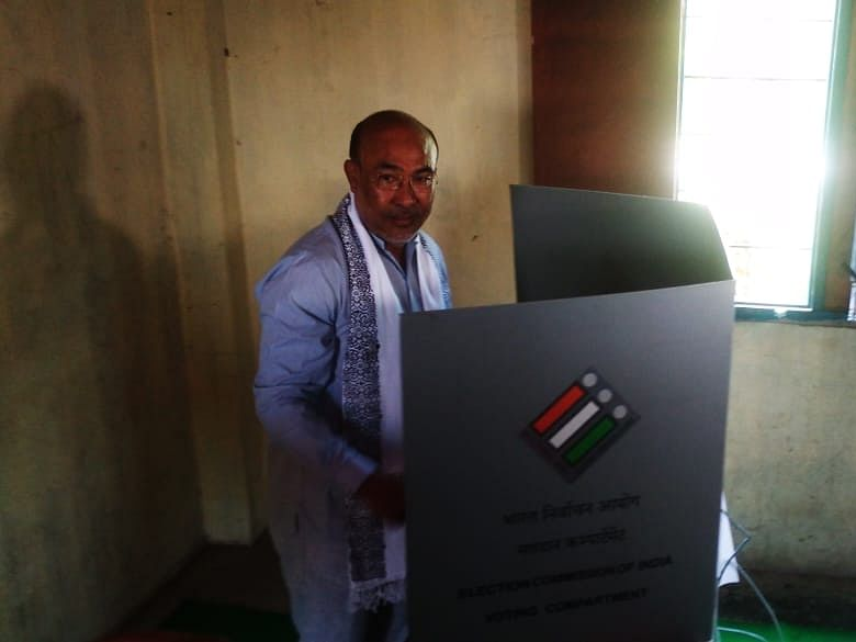 Manipur CM denies reports of jumping queue at polling station