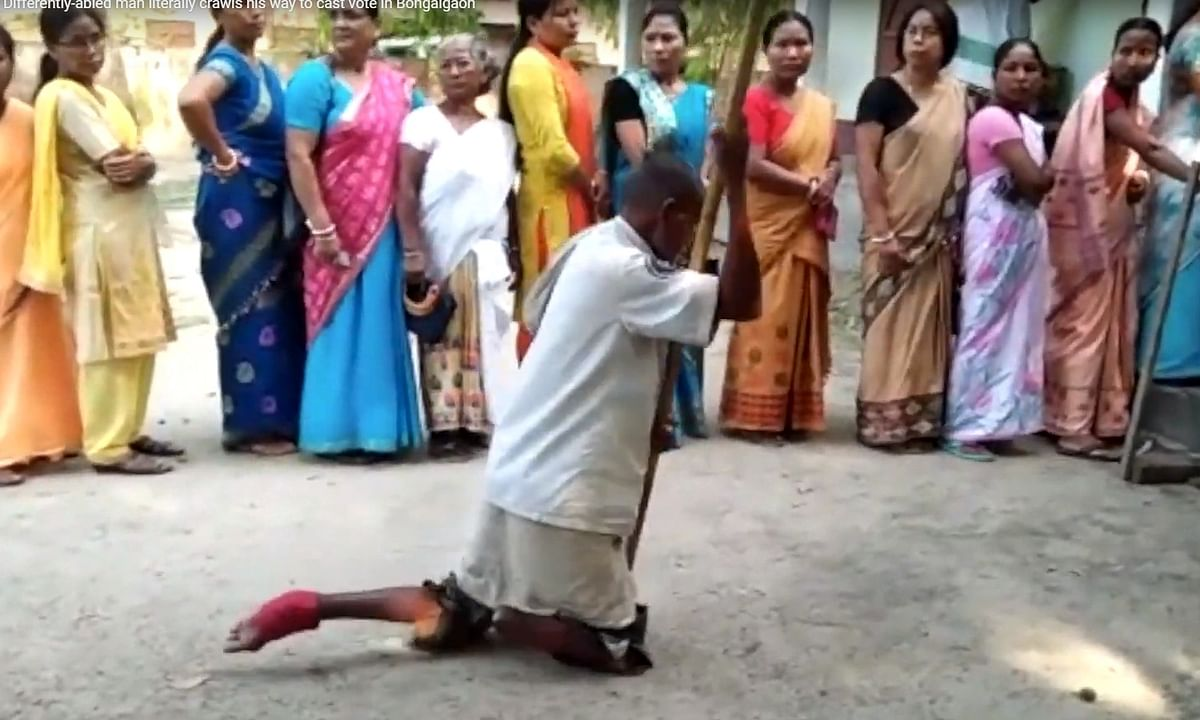 Inclusion? Differently-abled voter crawls his way to vote in Assam