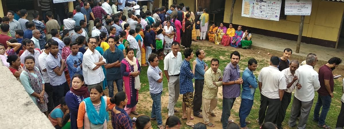 Early voters queuing up to exercise their franchise in Guwahati, Assam
