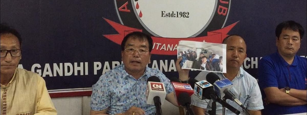 Tai Nikio, the Congress's candidate for the Nyapin Assembly constituency of Arunachal Pradesh, addressing a press conference in Itanagar on Saturday