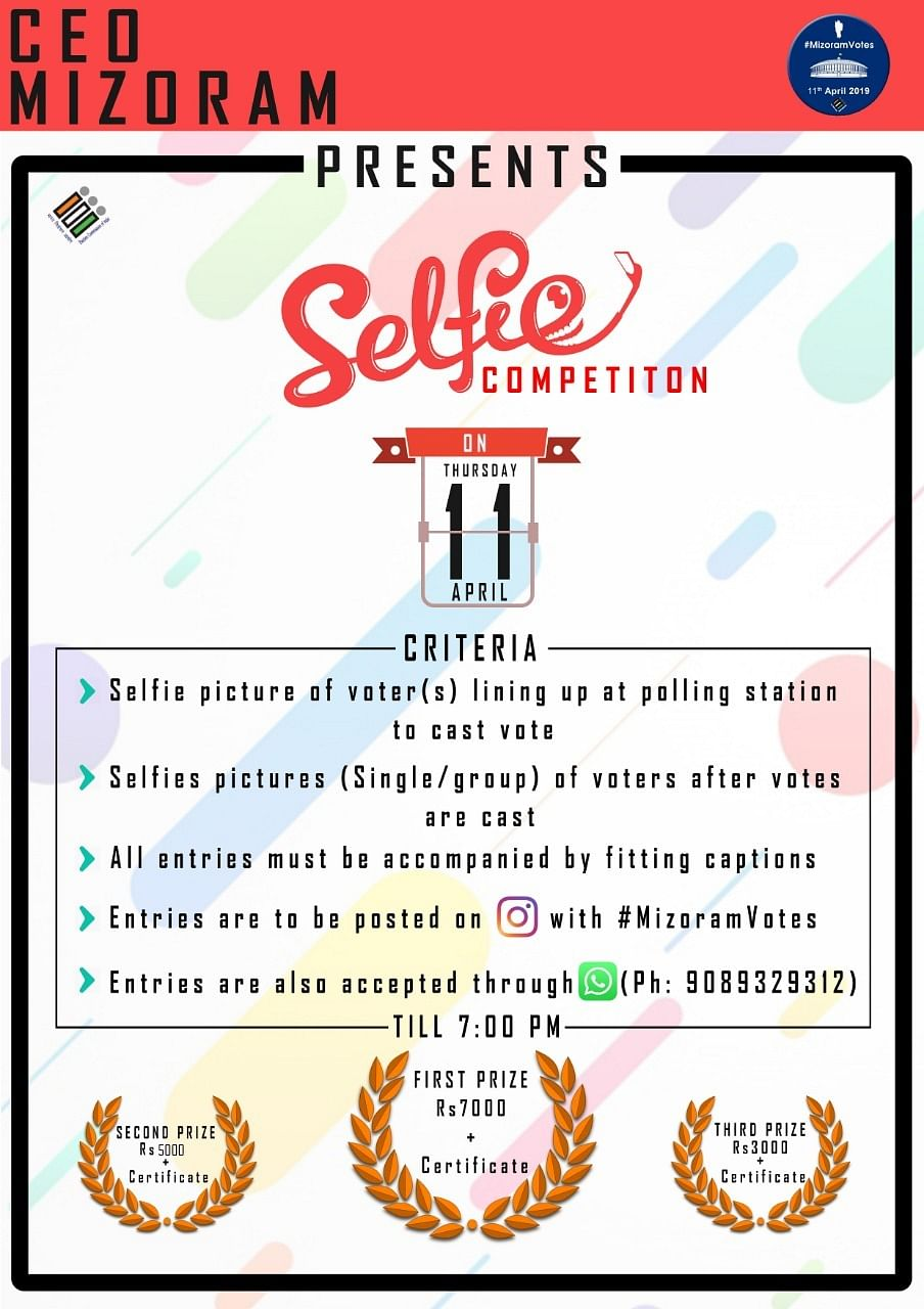 The promotional material for the 'Selfie Competition' announced by the Mizoram CEO