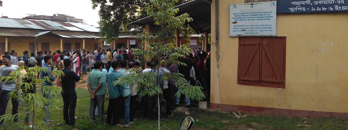 Long queues seen outside a polling booth in Guwahati on Tuesday morning