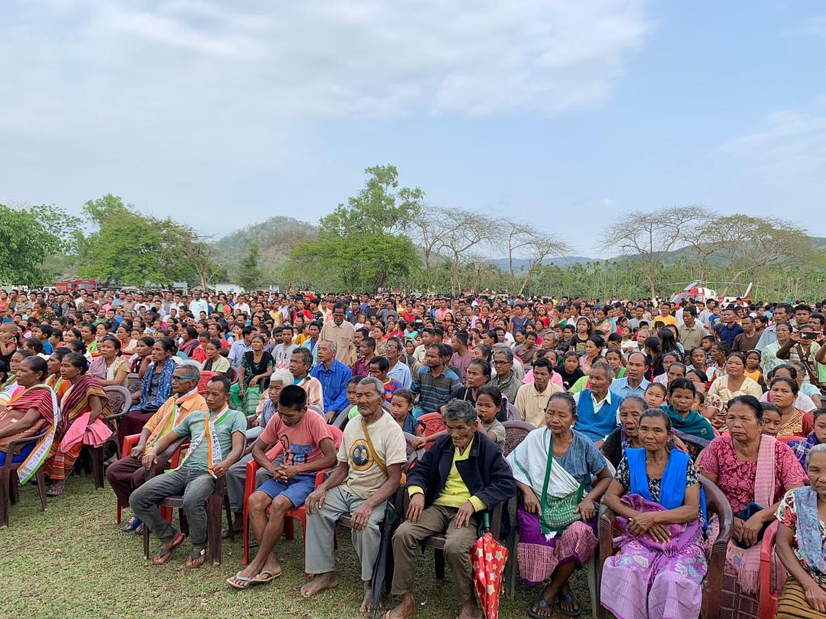 NPP supporters during an election rally attended by party chief Conrad K Sangma on Monday.