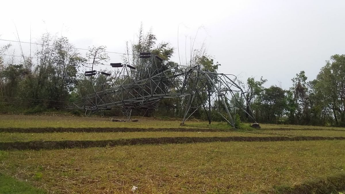 Several power transmission lines were also damaged by the thunderstorm in Churachandpur district on Monday