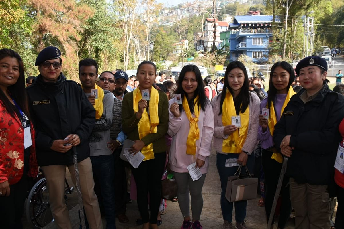 As a gesture of encouragement, the first-time voters were felicitated with traditional silk scarfs at the polling stations in South Sikkim