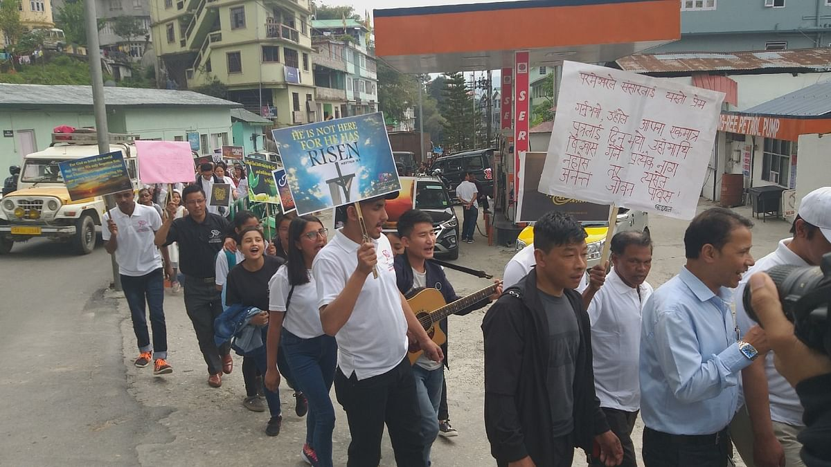 An Easter rally being taken out in Gangtok, Sikkim on Sunday