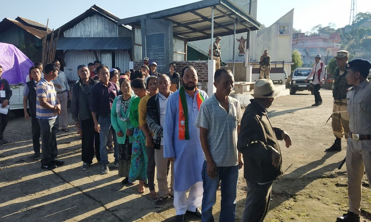 Nagaland deputy chief minister Y Patton at a polling station in Wokha