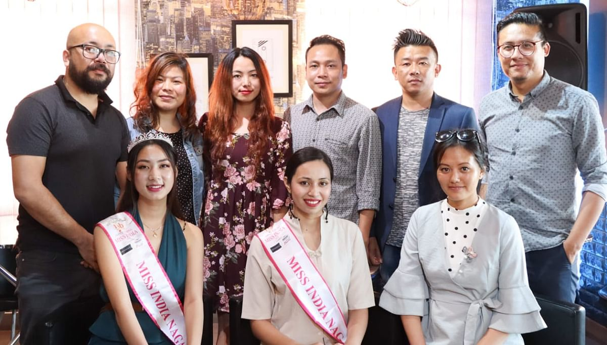 FBB Femina Miss Nagaland 2018 Ruopfüzhano Whiso (left, sitting) and Femina Miss Nagaland 2019 Marina Kiho (centre, sitting) at Kiho's official send-off ceremony in Kohima
