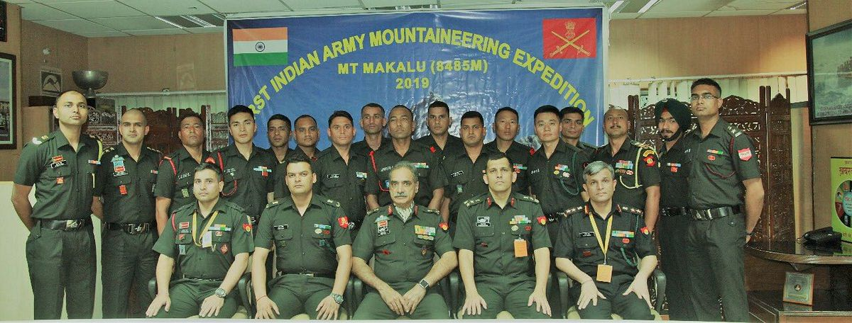 Indian Army Mountaineering team who have spotted the mysterious footprints of 'Yeti' at Makalu base camp.