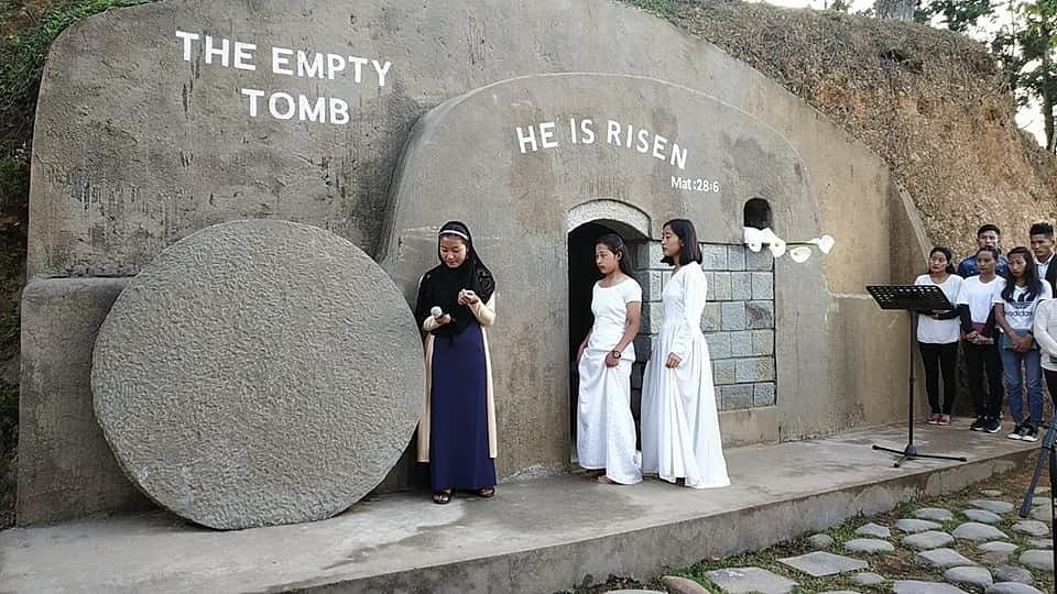 Believers re-enacting the resurrection of Jesus Christ in Mokokchung, Nagaland