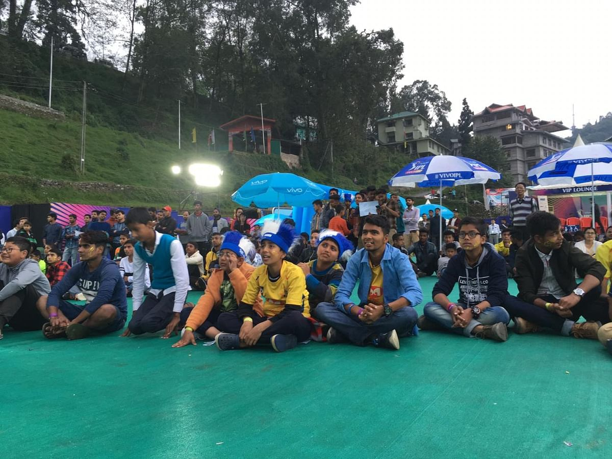 Fans watching an IPL match live at the Fan Park for the first time