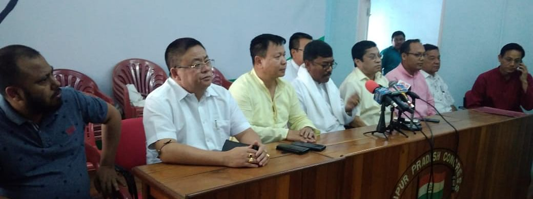 Congress MLAs announced their resignation at a press conference in Imphal on Wednesday