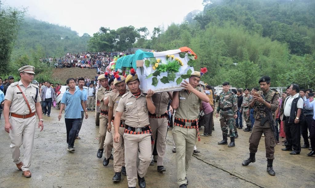 Khonsa West MLA Tirong Aboh being laid to rest with full state honours in Arunachal Pradesh on May 25