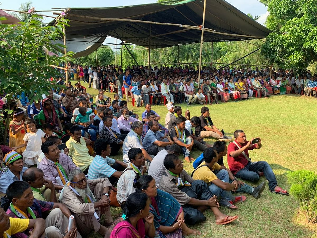 Party workers and well-wishers attending a 'thanksgiving programme' for Agatha  Sangma